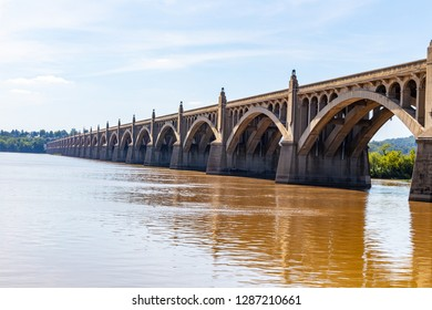 Columbia, PA, USA - August 21, 2015: The Columbia Wrightsville Bridge spans the Susquehanna River in Lancaster County, PA.