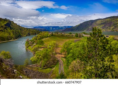 Columbia river gorge overlook. Scenic view from Oregon side. HDR version