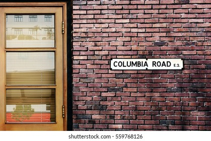 Columbia Road street sign. The world's most famous street of Columbia Road in London, England.