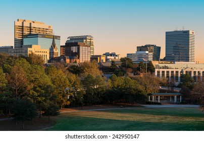 COLUMBIA, SOUTH CAROLINA - DECEMBER 10: Downtown Columbia from Finlay Park on December 10, 2014 in Columbia, South Carolina