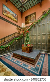 COLUMBIA, SOUTH CAROLINA - DECEMBER 9: Staircase connecting the first floor to the main lobby of the South Carolina State House on December 9, 2014 in Columbia, South Carolina