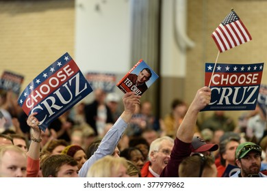 Columbia, South Carolina - February 17, 2016: Supporters of Ted Cruz(R) show their support for the presidential candidate at The Columbia Armory.