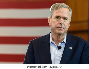 Columbia, South Carolina - February 18, 2016: Presidential candidate Jeb Bush(R) speaking during his Town Hall engagement held at the Columbia Metropolitan Convention Center.