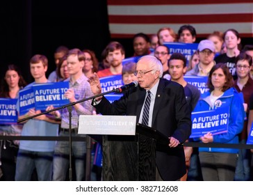 Columbia, South Carolina - February 26, 2016: Presidential candidate Bernie Sanders (D) holds a political concert/rally at the Township Auditorium.