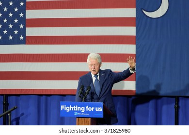 Columbia, South Carolina. - February 3, 2016: Former President Bill Clinton(42nd) holds a presidential rally, standing in for Hillary Clinton(D), at HBCU Allen University's Gymnasium.