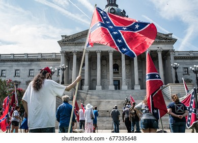 Columbia, South Carolina - July, 10, 2017: Confederate activist attend a flag raising event held in protest of the the Confederate flag's removal from the S.C. State House in 2015