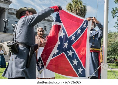 Columbia, South Carolina - July, 10, 2017: Counter protesters protest a flag raising event held in protest of the the Confederate flag's removal from the S.C. State House in 2015