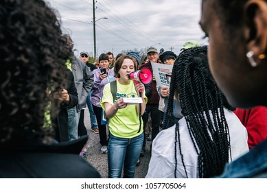 "Columbia, South Carolina - March 24, 2018: Thousands of students, teachers, parents, politicians and activists march through the streets of downtown Columbia during the ""March for our Lives"""