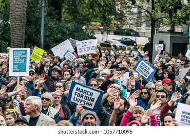 "Columbia, South Carolina - March 24, 2018: Thousands of students, teachers, parents and activists hold a rally at the South Carolina State House after marching in Columbia's ""March for Our Lives"""