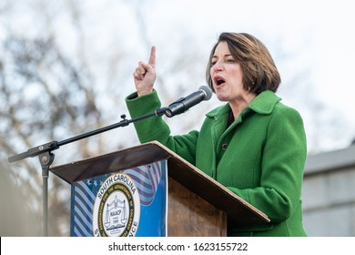"Columbia, South Carolina, USA - January 20, 2020: Presidential hopeful Amy Klobuchar (D) speaks to attendees of the 20th annual ""King Day At The Dome"" rally held at the South Carolina Statehouse."