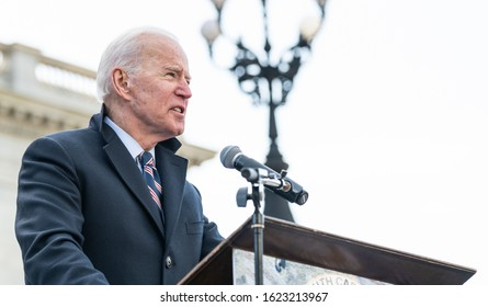 "Columbia, South Carolina, USA - January 20, 2020: Presidential hopeful Joe Biden (D) speaks to  attendees of the the 20th annual ""King Day At The Dome"" rally held at the S.C. Statehouse."