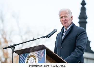 "Columbia, South Carolina, USA - January 20, 2020: Presidential hopeful Joe Biden (D) speaks to  attendees of the the 20th annual ""King Day At The Dome"" rally held at the S.C. Statehouse"