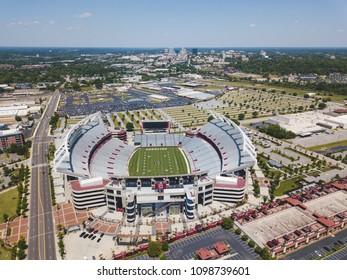 Columbia, South Carolina / USA - May 2017: Aerial shot of Williams Brice football stadium.  This is home to the University of South Carolina Gamecocks.