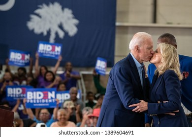 Columbia, South Carolina USA - May 4, 2019: United States 47th Vice President and 2020 presidential hopeful Joe Biden (D) and his wife Dr. Jill Biden share a kiss during a campaign stop in Columbia.