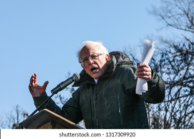 Columbia South Carolina/U.S. -January 21, 2019: Newly announced 2020 democratic presidential candidate Senator Bernie Sanders addresses a large crowd at the 19th annual King Day at the Dome Rally