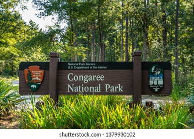 Columbia, United States: September 7, 2018: Congaree National Park Entry Sign in South Carolina
