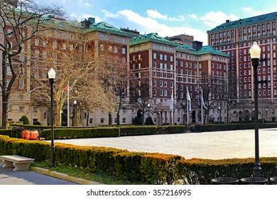 The Columbia University Campus in New York City at sunset