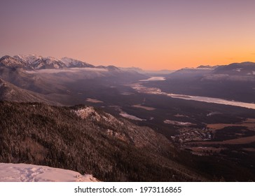 Columbia Vallery Mountain Sunset in Winter near Invermere, British Columbia, Canada