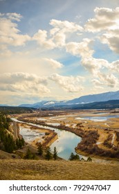 Columbia Wetlands in Spring, near Invermere, British Columbia, Canada with the Purcell Mountain Range in the background