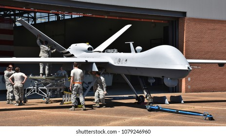 Columbus AFB, Mississippi - April 20, 2018: An Air Force MQ-9 Predator drone undergoing maintenance in a hangar at Columbus Air Force Base, MS.