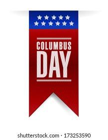 columbus day banner sign illustration design over a white background
