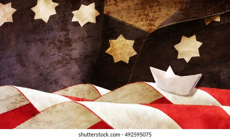 Columbus Day. Stars and Stripes and Paper Boat.