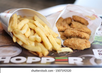 COLUMBUS, GEORGIA/ USA - 05-29-2018  Chicken Nuggets and French Fries at a Burger King restaurant in Columbus, GA.