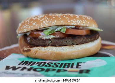 COLUMBUS, GEORGIA/ USA - 09-03-2019  The IMPOSSIBLE™ WHOPPER® at a Burger King restaurant in Columbus, GA.  Nationwide, BK started offering this burger featuring a patty made from plants in 08/2019.
