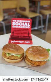 COLUMBUS, GEORGIA/USA - 05-28-2020 Chicken Sandwiches at Wendy's.