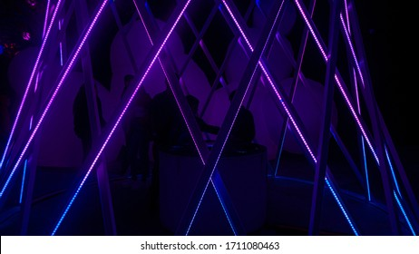 COLUMBUS, OH / JANUARY 10, 2020: Glowing colorful neon lights at Otherworld
