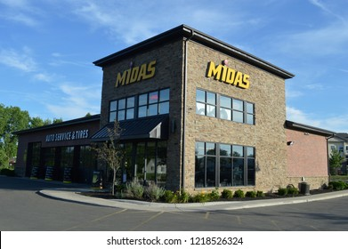 Columbus, OH - JULY 24 2017: Midas shops specializes in tire and brake repair.