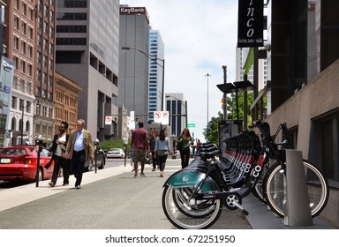 COLUMBUS, OH - JUN 28: A CoGo bicycle rental station in downtown Columbus, OH, is shown on June 27, 2017. The system comprises 41 stations and 365 bikes