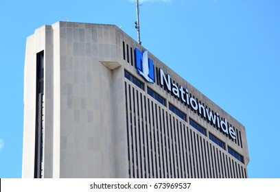 COLUMBUS, OH - JUN 28: A sign for Nationwide in Columbus, OH is shown here on June 28, 2017. It donated more than $400 million to nonprofit organizations since 2000.
