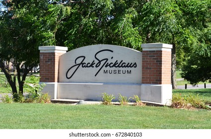 COLUMBUS, OH - JUNE 25: The sign for the Jack Nicklaus museum in Columbus, Ohio is shown on June 25, 2017. The museum honors the golfer, who won 20 major championships.