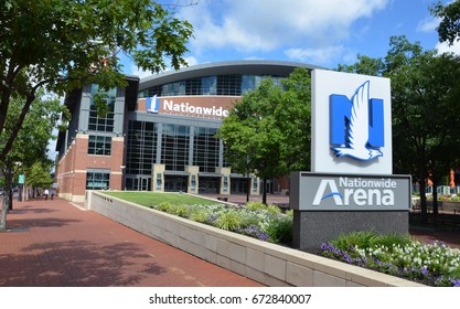 COLUMBUS, OH - JUNE 27: Nationwide Arena in Columbus, Ohio is shown on June 27, 2017. it is the home of the Columbus Blue Jacketsof theNational Hockey League.