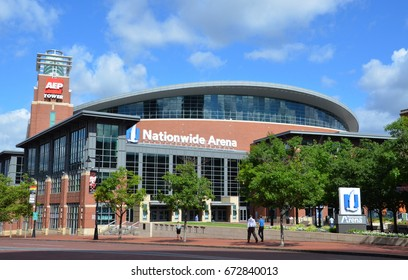 COLUMBUS, OH - JUNE 27: Nationwide Arena in Columbus, Ohio is shown on June 27, 2017. it is the home of the Columbus Blue Jackets of the National Hockey League.