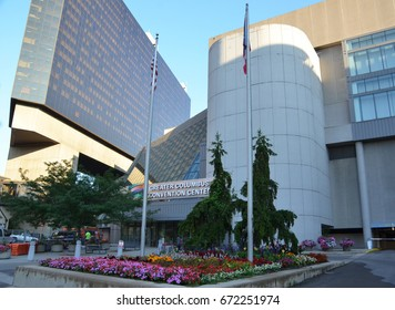 COLUMBUS, OH - JUNE 28: Columbus Convention Center is shown on June 28, 2017. It was designed by architect Peter Eisenman.
