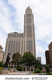COLUMBUS, OH - JUNE 28: The LeVeque Tower in Columbus, Ohio is shown on June 28, 2017. The Art Deco building is next to Columbus City Hall.