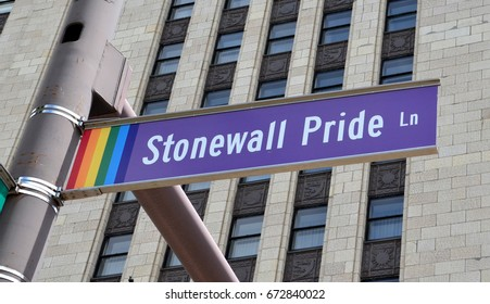COLUMBUS, OH - JUNE 28: Stonewall Pride Lane sign in Columbus, Ohio is shown on June 28, 2017. Gay Street is renamed that as part of Gay Pride Week.
