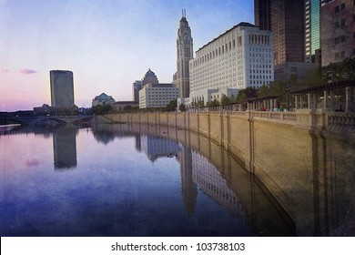 Columbus, Ohio along the Scioto River with the new Scioto walkway renovation