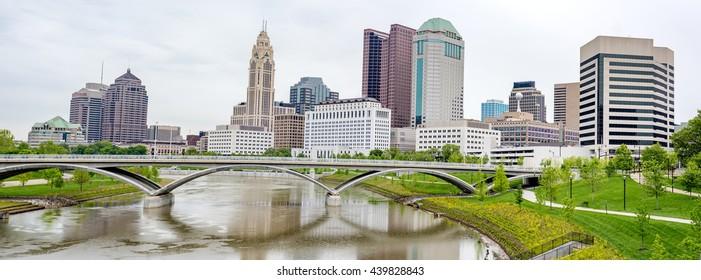 Columbus Ohio and bridge reflection