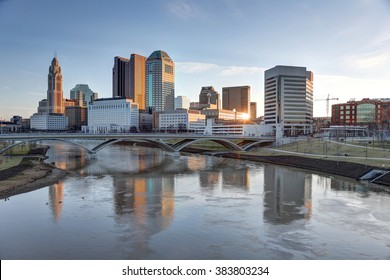 COLUMBUS, OHIO - CIRCA February 2016: Morning skyline along the Scioto River showcasing the Leveque Tower and Supreme Court building