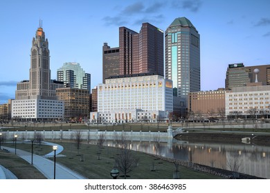 COLUMBUS, OHIO - CIRCA MARCH 2016: Evening skyline along the Scioto River showcasing the Supreme Court building and Leveque Tower