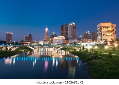 Columbus, Ohio City night skyline along the Scioto River
