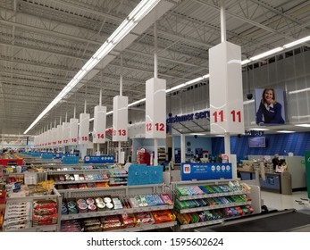 Columbus, Ohio December 5, 2019: Checkout registers at Meijers Department Store.
