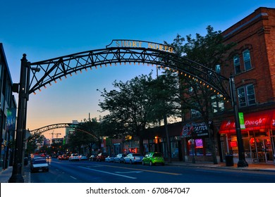 COLUMBUS, OHIO - JULY 2, 2017:  The Short North Arts District is the hub of dining and entertainment just north of downtown Columbus, OH.