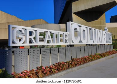 COLUMBUS, OHIO - JULY 7, 2018: The Columbus, Ohio Convention Center first opened in 1993 and has undergone many renovations since then.  This sign is one of the newest additions to this landmark.