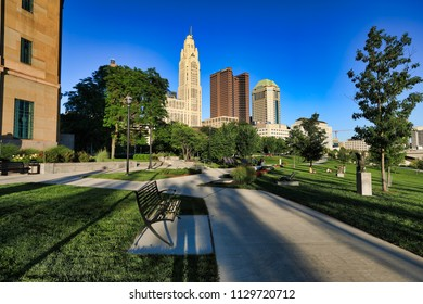 COLUMBUS, OHIO - JULY 7, 2018:  The Scioto Mile along the river in downtown Columbus is a popular destination.  The city skyline is a dramatic backdrop to this popular urban park area.