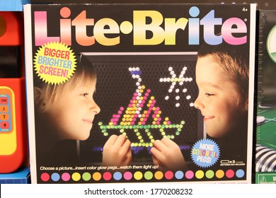 Columbus, Ohio June 25, 2020. Lite-Brite is a toy that consists of a light box with small colored plastic pegs that fit into a panel and illuminate to create a lit picture.