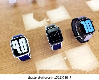 Columbus, Ohio November 12, 2019: Apple Store shows a variety  of new iwatches on display.